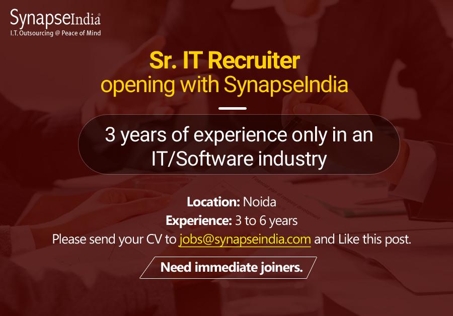 SynapseIndia Jobs - Sr. IT Recruiter