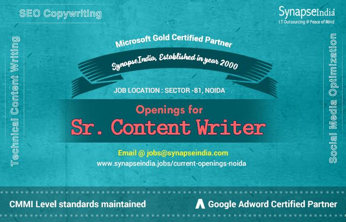 SynapseIndia Recruitment for Sr.Content Writer