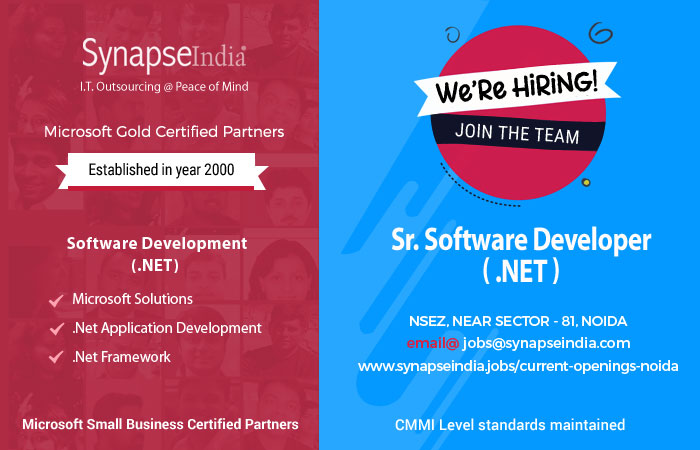 SynapseIndia Jobs for Sr Software Engineer(dot net)