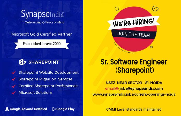 SynapseIndia Recruitment for Sharepoint