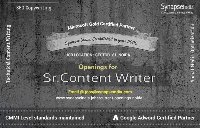 SynapseIndia Recruitment for Sr Content Writer