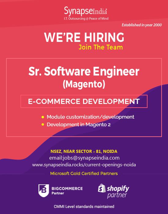 SynapseIndia Job- Sr Software Engineer(Magento)