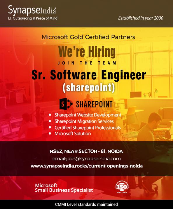SynapseIndia Job- Sr. Software Engineer( SharePoint)
