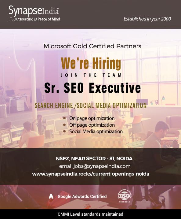 SynapseIndia jobs for Sr SEO Executive