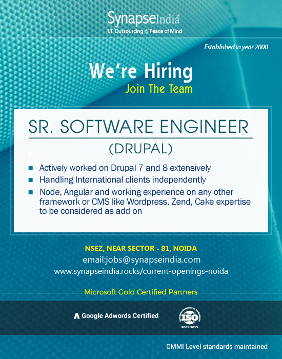 SynapseIndia Recruitment - Sr Software Engineer(Drupal)