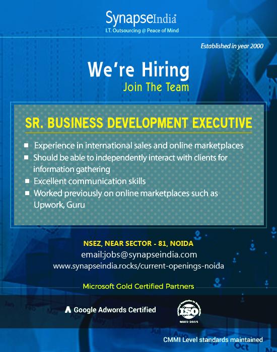 Synapseindia Jobs for Sr Business Development Executive