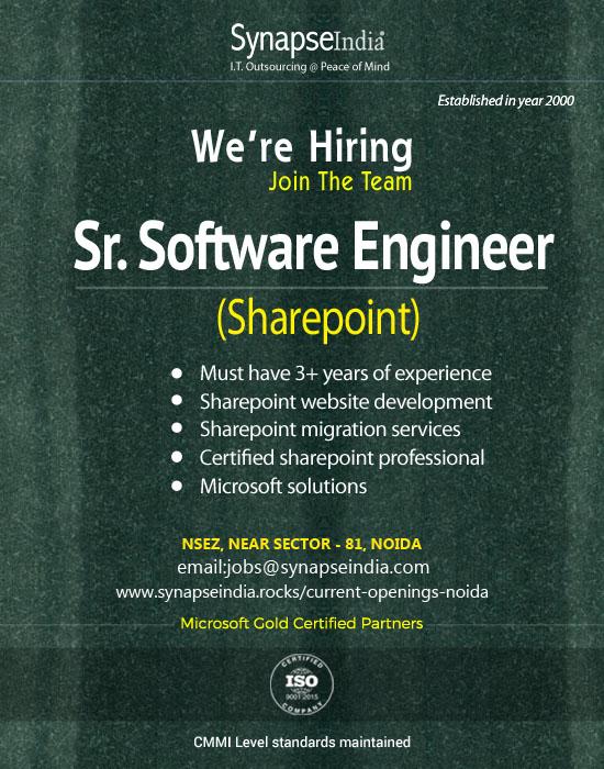 Synapseindia Jobs - Sr. Software Engineer ( Sharepoint )