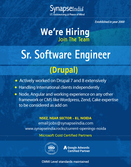 SynapseIndia Jobs - Sr Software Engineer(Drupal)