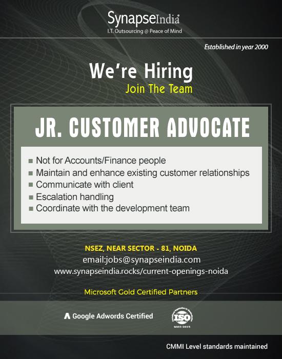 SynapseIndia Recruitment For Jr Customer Advocate