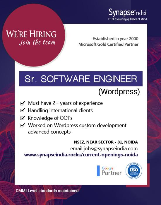 SynapseIndia Jobs - Sr. Software Engineer (WordPress)