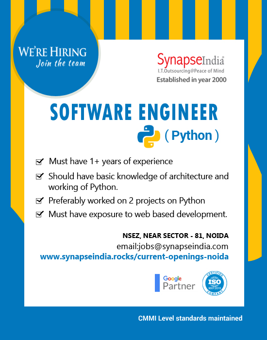 SynapseIndia Jobs - Software Engineer ( Python )
