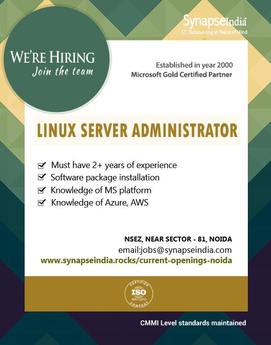 SynapseIndia Jobs - Lunux Server Administrator
