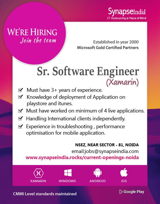 Synapseindia Jobs - Sr.software engineer (Xamarin)