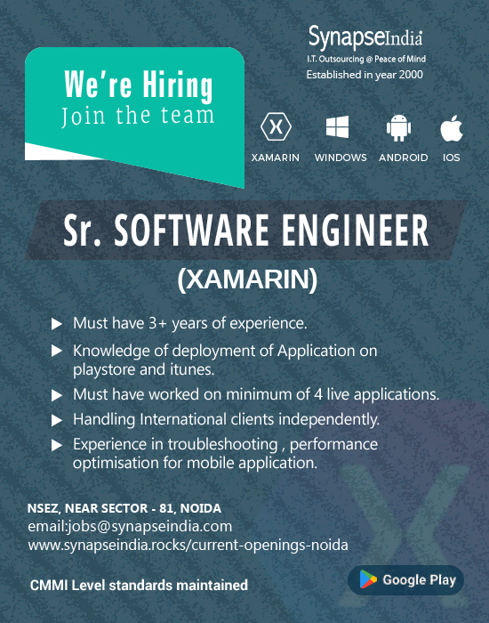 SynapseIndia Jobs - Sr. Software Engineer (Xamarin)