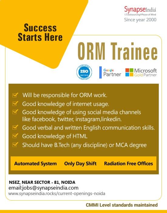 SynapseIndia Jobs - ORM Trainee