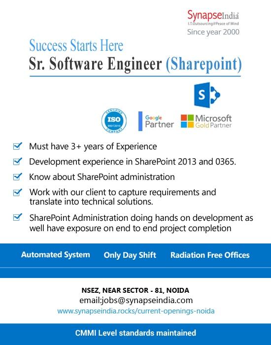 SynapseIndia Jobs - Sr. Software Engineer (Sharepoint)