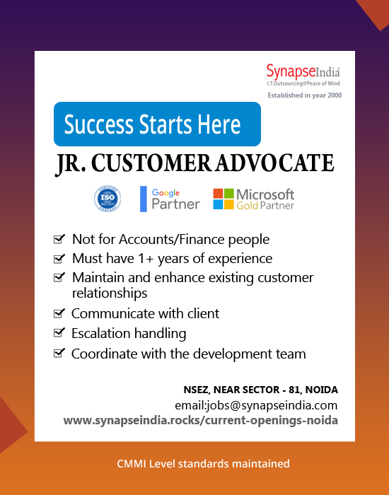 SynapseIndia Jobs - Jr. Customer Advocate