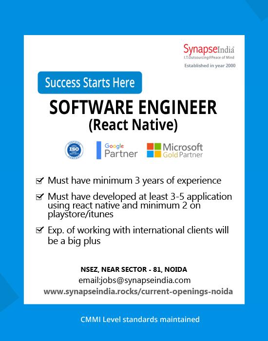 SynapseIndia Jobs - Software Engineer-React Native