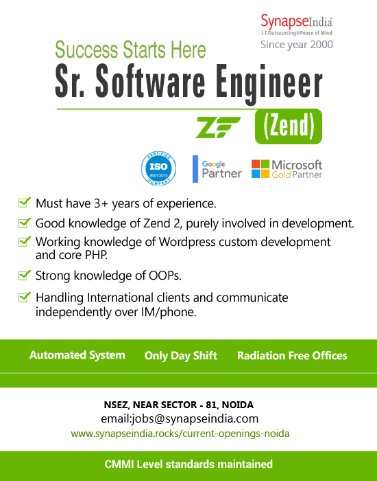 SynapseIndia Jobs - Sr. Software Engineer (Zend)