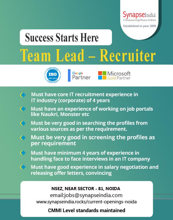 SynapseIndia Jobs - Team Lead - Recruiter