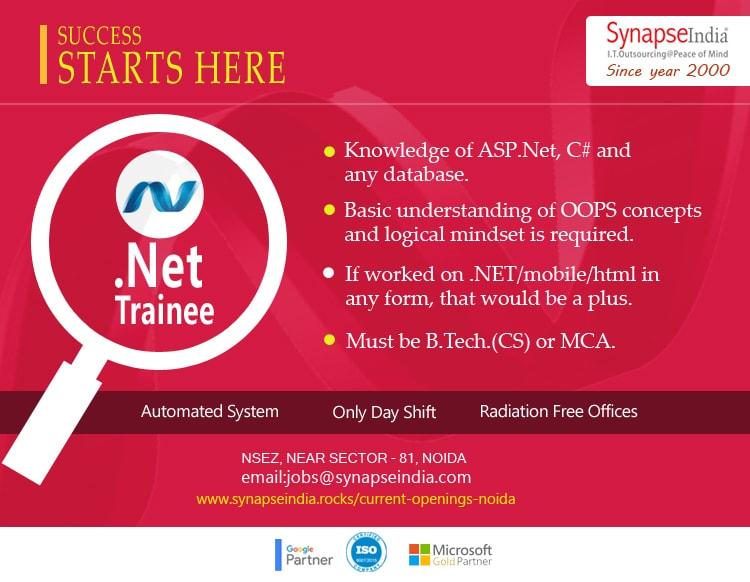 SynapseIndia Jobs - .Net Trainee