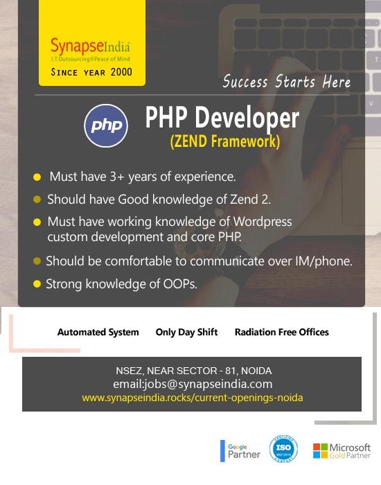 SynapseIndia Jobs - PHP Developer (ZEND Framework) (2)