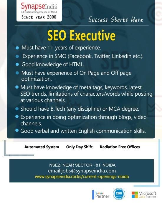 SynapseIndia Jobs - SEO Executive