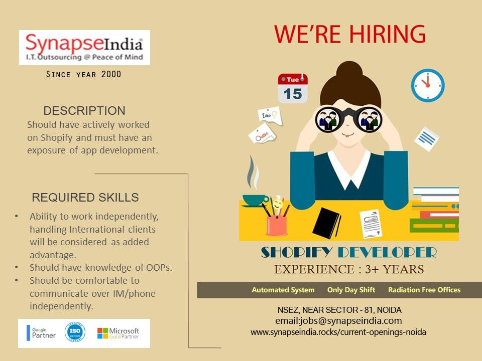 SynapseIndia Jobs - Shopify Developer