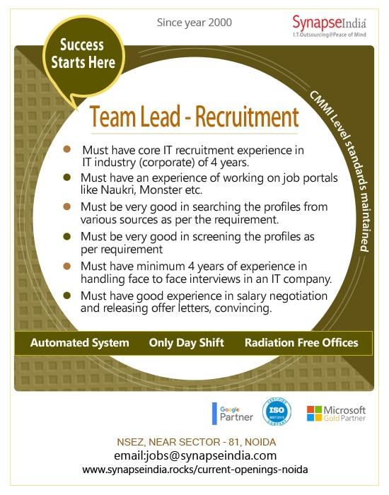 SynapseIndia Jobs - Team Lead (Recruitment)