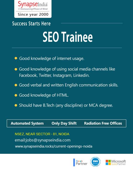 SynapseIndia Jobs - SEO Trainee