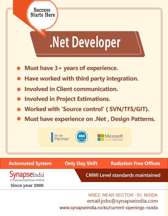 SynapseIndia Jobs - .Net Developer