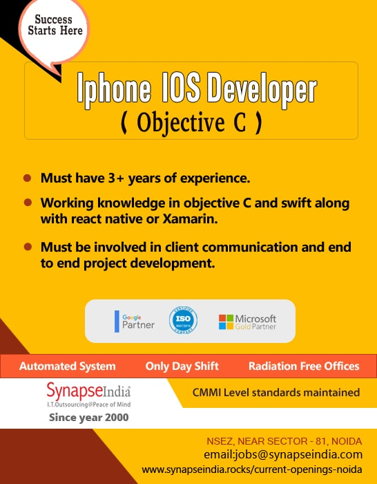 SynapseIndia Jobs - Iphone IOS Developer ( Objective C )