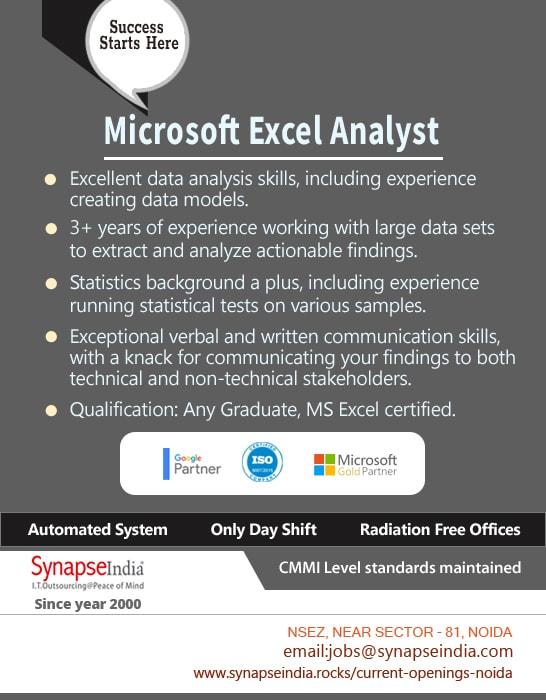 SynapseIndia Jobs - Microsoft Excel Analyst