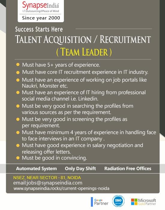 SynapseIndia Jobs - Talent Acquisition  Recruitment ( Team Leader )