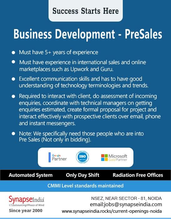SynapseIndia Jobs - Business Development
