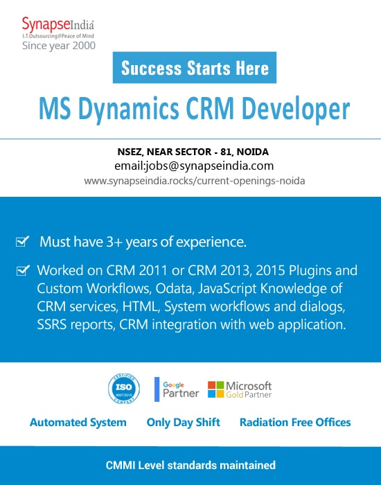 SynapseIndia Jobs - MS Dynamics CRM Developer