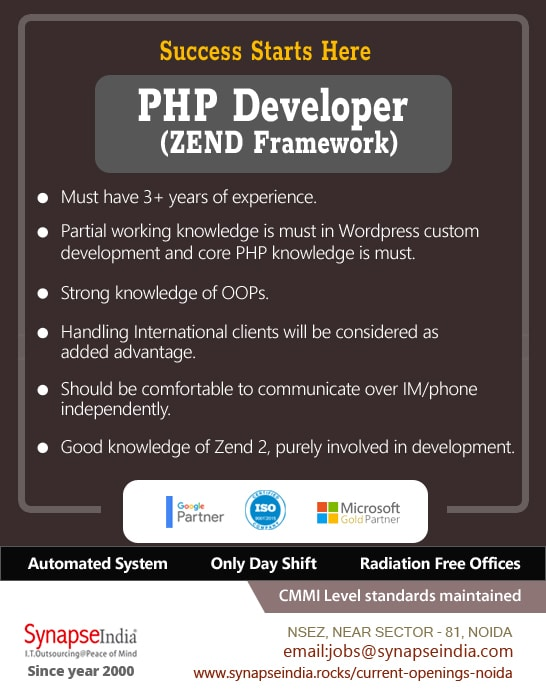 SynapseIndia Jobs - PHP Developer (ZEND Framework)