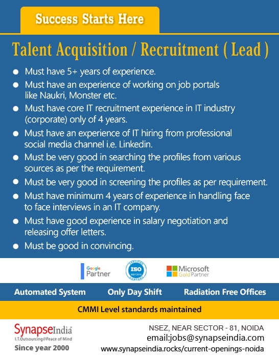 SynapseIndia Jobs - Talent Acquisition Recruitment ( Lead )
