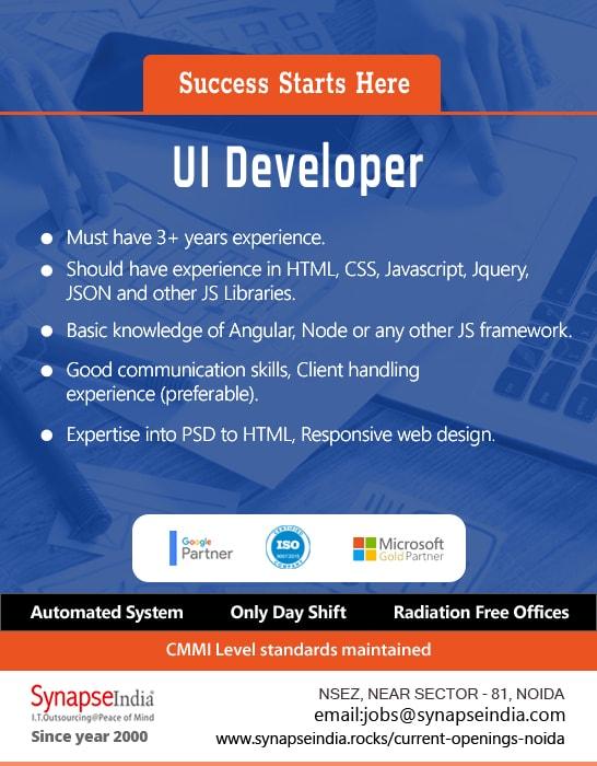 SynapseIndia Jobs - UI Developer