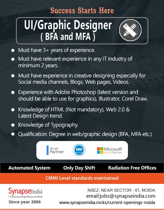 SynapseIndia Jobs - UI Graphic Designer ( BFA and MFA )