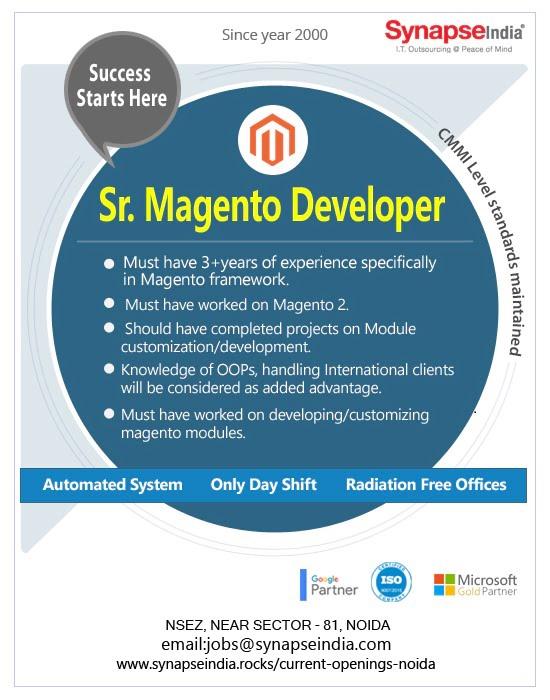 SynapseIndia Jobs - Sr. Magento Developer