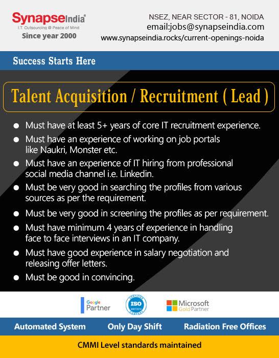 SynapseIndia Jobs - Talent Acquisition / Recruitment ( Lead )