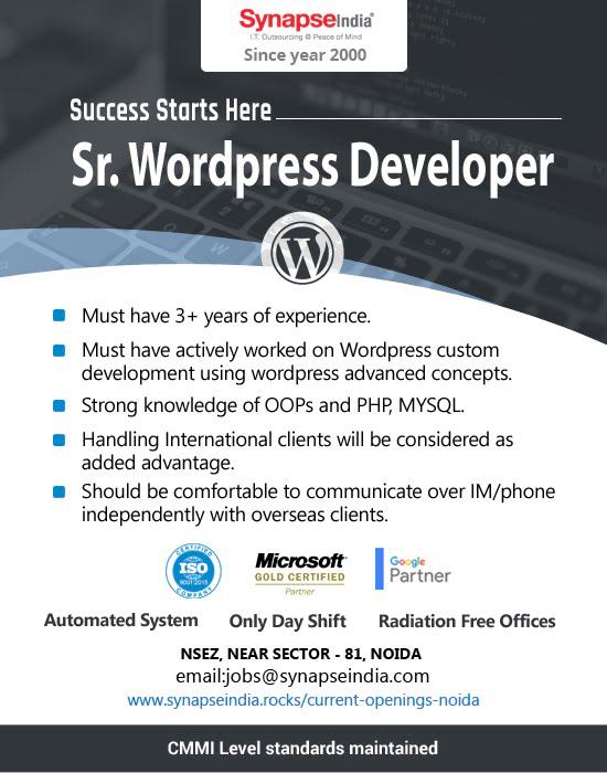 SynapseIndia Jobs  Sr. Wordpress Developer