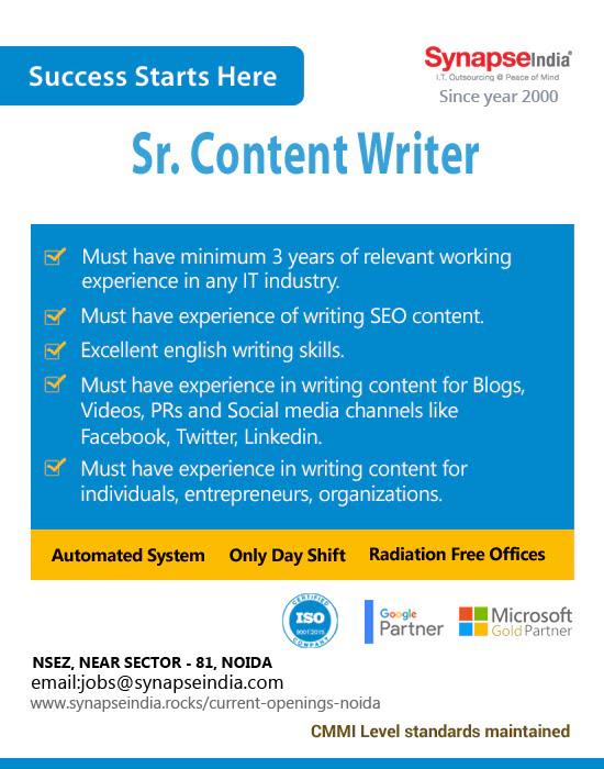 SynapseIndia Jobs - Sr. Content Writer