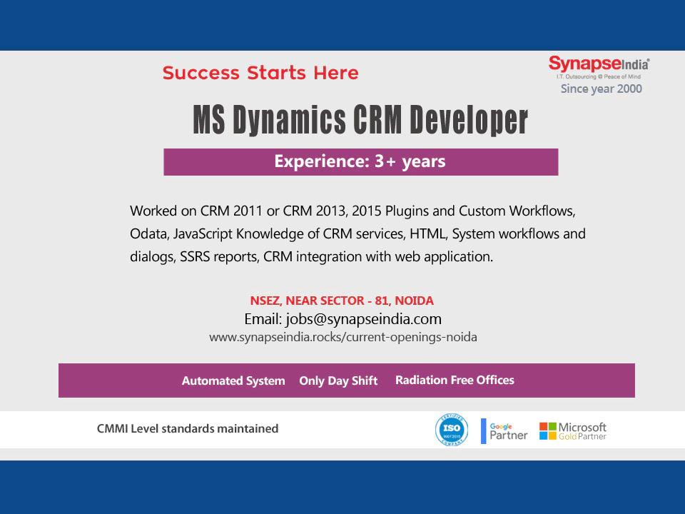 SynapseIndia Jobs – MS Dynamics CRM Developer