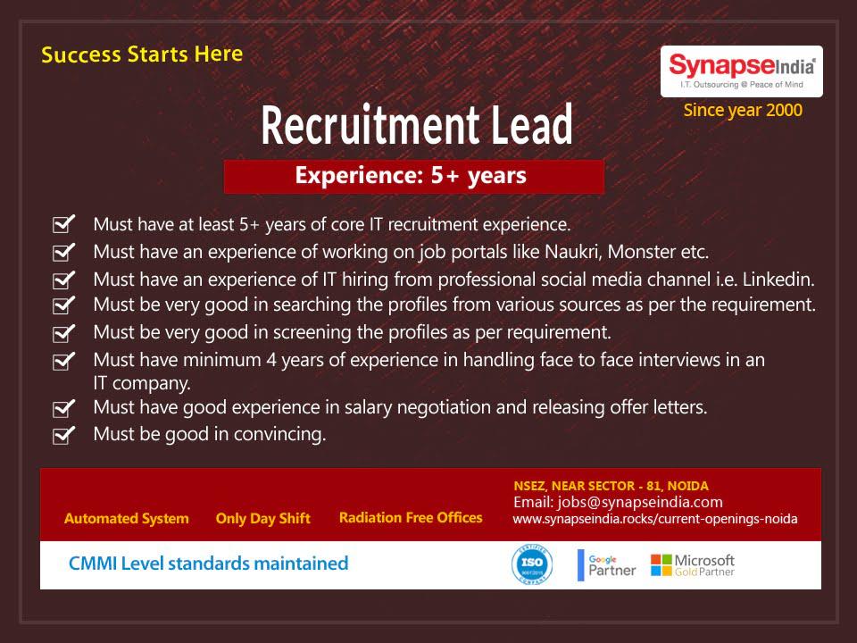 SynapseIndia Jobs – Recruitment Lead