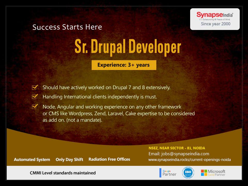SynapseIndia Jobs – Sr. Drupal Developer