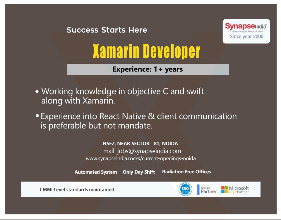 SynapseIndia Jobs – Xamarin Developer